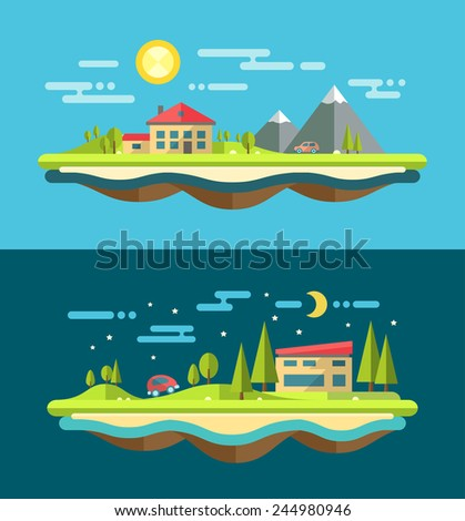Modern flat design conceptual landscape illustration with buildings - stock photo