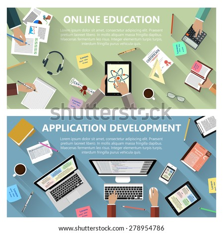 Modern flat design online education and app development concept  for e-business, web sites, mobile applications, banners, corporate brochures, layouts etc. Raster copy of vector illustration - stock photo