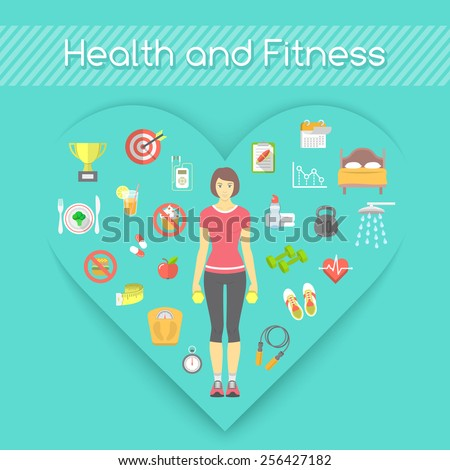 Modern flat fitness conceptual illustration. Slim girl in sportswear with conceptual icons of shaping and healthy life in the shape of heart - stock photo