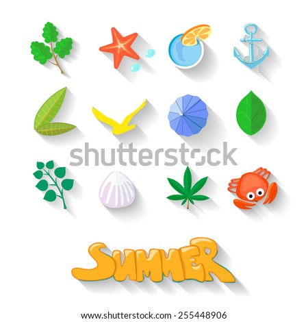 Modern flat icons  collection with long shadow effect in stylish colors of traveling, tourism and vacation theme. Isolated on white background. - stock photo