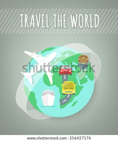 Modern flat illustration of different types of transport for travel. Conceptual background with globe and icons of car, bus, train and airplane. International travel and transportation concept - stock photo