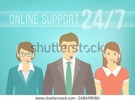 Modern flat illustration of young employees of call center support and help service, women and man, with headphones and inscription. Help desk online concept. - stock photo