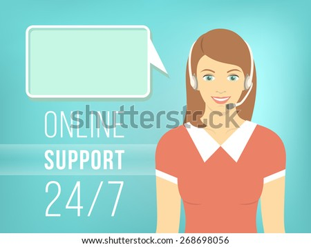 Modern flat illustration of young pretty girl, employee of call center support and help service with headphones and speech bubble for chat with visitors of web site. Help desk online concept. - stock photo