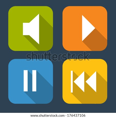 Modern Flat Music Icon Set for Web and Mobile Application - stock photo