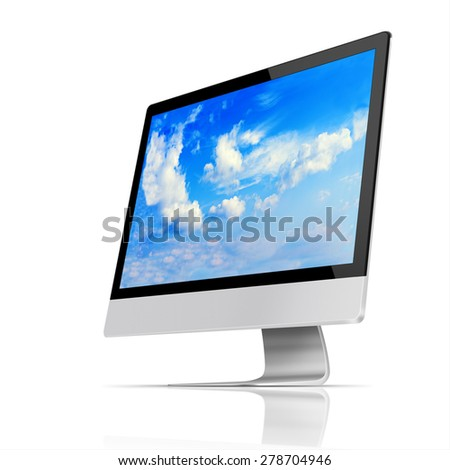 Modern flat screen computer monitor with with blue sky and beautiful clouds on screen isolated on white background. Highly detailed illustration. - stock photo