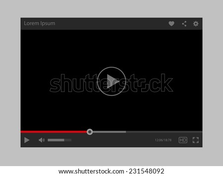 Modern flat video player interface - stock photo