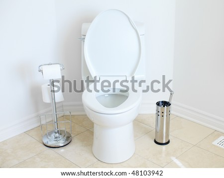 Modern flush toilet. Bathroom - stock photo