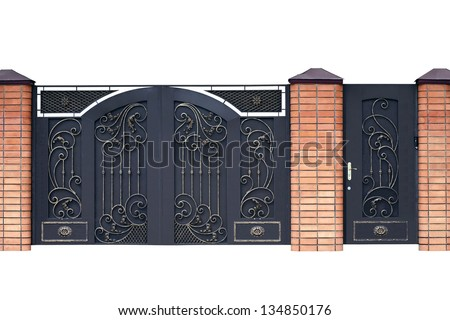 Modern  forged  decorative  gates.  Isolated over white background. - stock photo