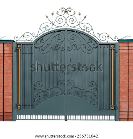 Modern forged gates with overlaid ornaments.  Isolated over white background. - stock photo