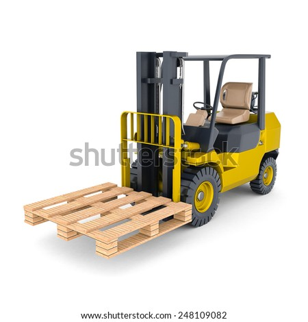 modern forklift isolated on white background - stock photo