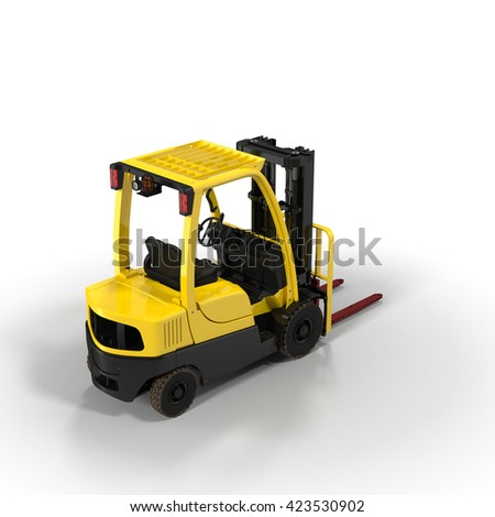 Modern forklift truck isolated on white 3D Illustration