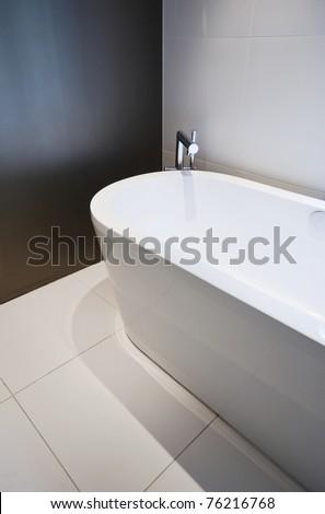 modern free standing ceramic bath tub with slim shower attachment - stock photo