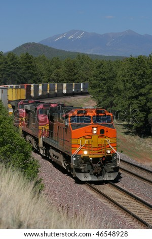 Modern freight train in Mountains - stock photo