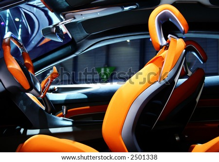 Modern Front Seat of a Sports Car. - stock photo