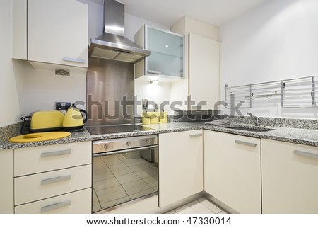 Modern fully fitted kitchen with appliances