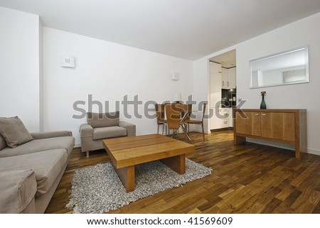 modern furnished open plan lounge with kitchen in the background - stock photo