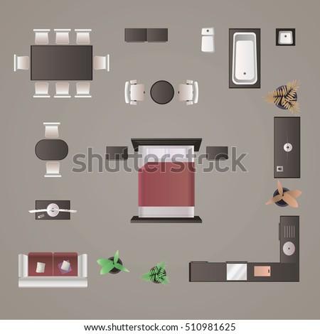 Modern Furniture Design Elements Top View Image Realistic Illustration
