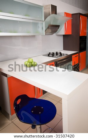 Modern furniture of a home kitchen.