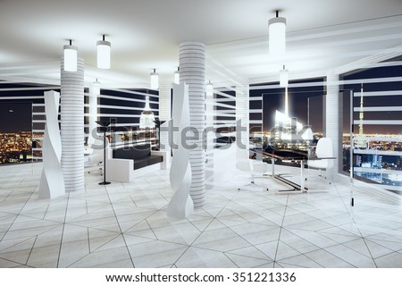 Modern futurism style office with windows in floor and night city view 3D Render - stock photo