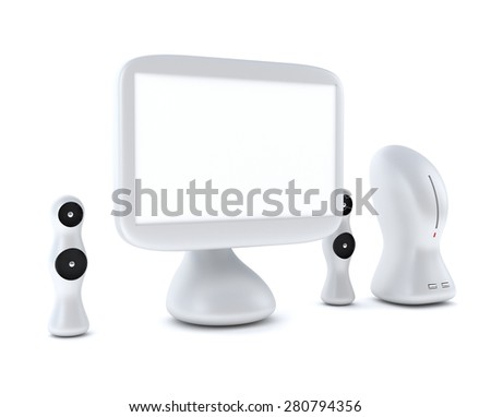 Modern, futuristic LCD computer monitor (LCD display panel) with speakers isolated on white background - stock photo