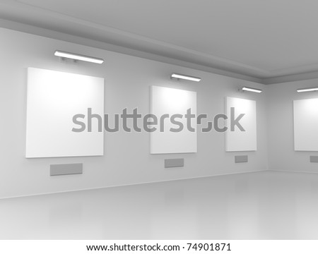 Modern gallery hall - stock photo
