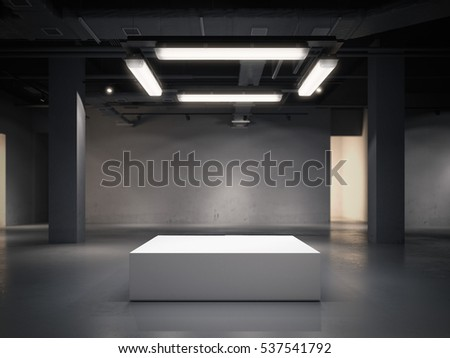 Modern gallery space with bright showcase and lamps. 3d rendering