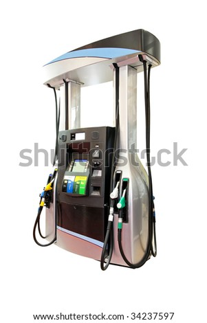 Modern gas pump isolated - stock photo