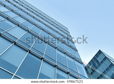 modern geometric skyscrapers - stock photo
