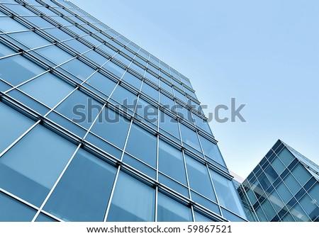 modern geometric skyscrapers - stock photo