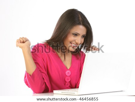 modern girl using latest technology - stock photo