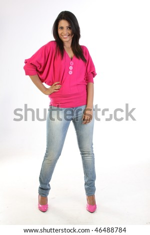 Modern girl with jeans pant and pink tops - stock photo