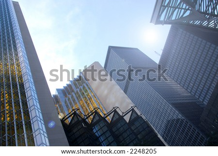 Modern glass and steel skyscrapers in city center