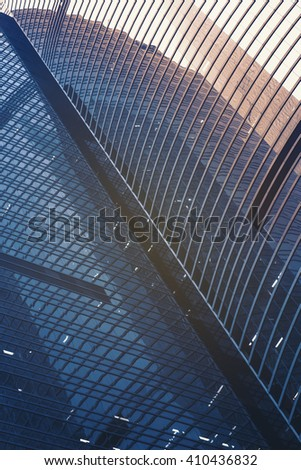 Modern glass building in detail