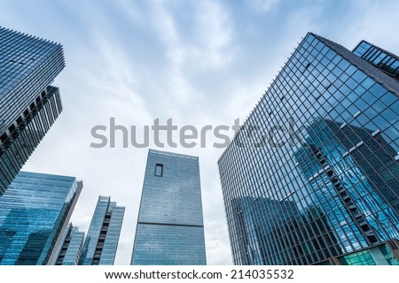 modern glass buildings in the international business operations center  - stock photo