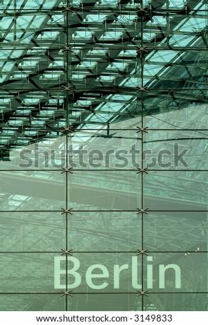 modern glass facade in Berlin - stock photo