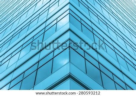 modern glass on modern building - stock photo