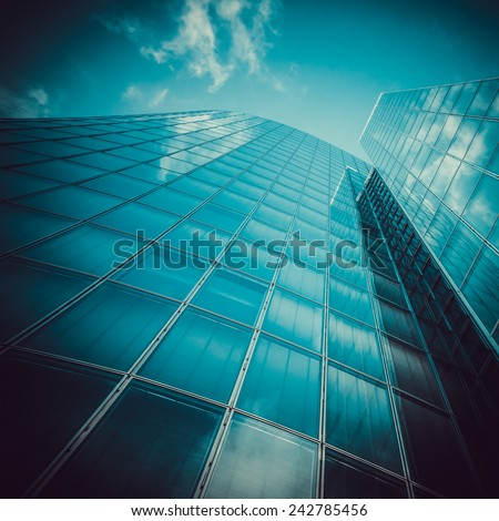 modern glass silhouettes of skyscrapers. Business building - stock photo