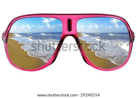 Modern glasses with sea reflection - stock photo