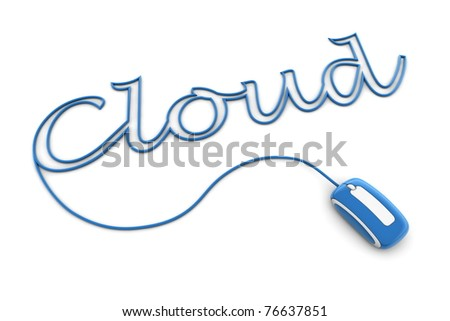 modern glossy blue computer mouse is connected to the shiny blue word CLOUD - letters a formed by the mouse cable - stock photo