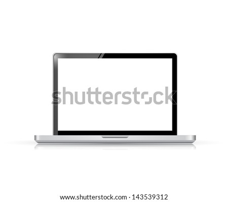Modern glossy laptop illustration design isolated on white - stock photo