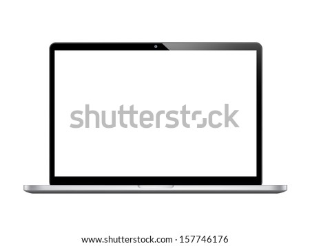 Modern glossy laptop isolated on white  - stock photo