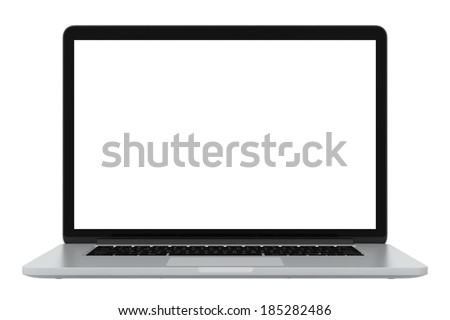 modern glossy laptop. isolated on white background - stock photo