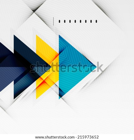 Modern glossy triangles business presentation background layout, web design template, figures for infographics - stock photo