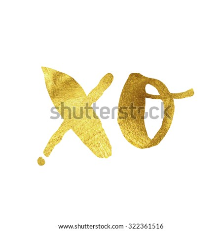 Modern gold leaf quote on white background. Quote reads XO - stock photo