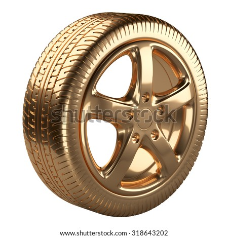 Modern golden car wheel isolated on a white background. 3d illustration high resolution - stock photo