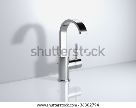 modern gooseneck spout faucet - stock photo