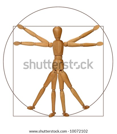 Modern graphical rendition of the Vitruvian man - stock photo