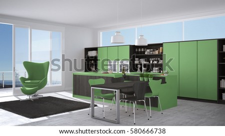 Modern Gray And Green Kitchen With Wooden Details Big Window Sea Or Lake Panorama