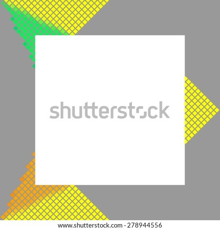 Modern gray frame with yellow orange green pixelated design element - stock photo