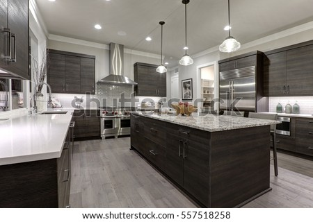 Dark Grey Modern Kitchen modern gray kitchen features dark gray stock photo 557518258